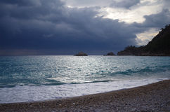 Dramatic sea. Evening dramatic sunset to the sea in Turkey Stock Photo