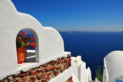 Dramatic sea panorama in Santorini, Greece stock photography