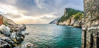 Dramatic seascape from church of St Peter, Porto Venere, Italy Royalty Free Stock Photo