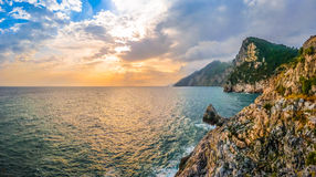 Dramatic seascape from church of St Peter, Porto Venere, Italy Royalty Free Stock Images