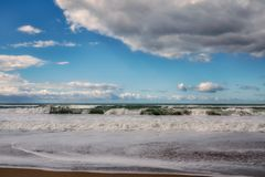 Dramatic seascape and cloudy sky stock photos