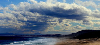Dramatic Seascape. Rain clouds forming above ocean Royalty Free Stock Photos