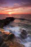 Dramatic seascape at sunset in Kudat, Sabah, East Malaysia Royalty Free Stock Photo
