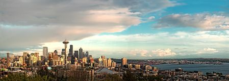 Dramatic Seattle Skyline Royalty Free Stock Image