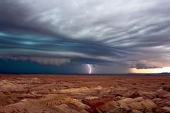 Dramatic shelf cloud ahead of a line of severe thunderstorms. Dramatic shelf cloud ahead of a line of severe thunderstorms in the Painted Desert royalty free stock photos