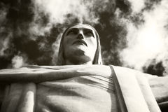 Dramatic shot of the Christ Redeemer Royalty Free Stock Photos