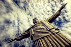Dramatic shot of the Christ Redeemer Stock Photography