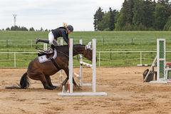 The dramatic situation at equestrian competition Stock Photography