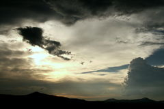 Dramatic skies. Dramatic clouds skies in between thunderstorms Royalty Free Stock Photography
