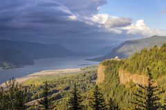 Dramatic skies in the Columbia River Gorge OR. stock images