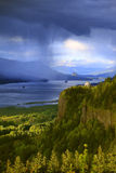 Dramatic skies on the Columbia Gorge Oregon. Royalty Free Stock Photo