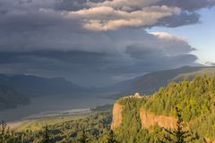Dramatic skies in the Columbia River Gorge OR. royalty free stock photography