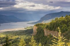 Dramatic skies in the Columbia River Gorge OR. stock photos