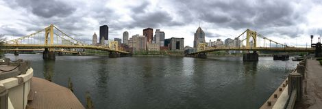 Panoramic View of the River and Bridges into Pittsburgh PA royalty free stock photo