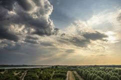 Dramatic skies over IJsslemonde island. Dramatic skies with low sun and dark clouds approaching over the island of IJsselmonde and the Oude Maas river as seen royalty free stock photos