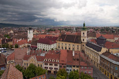 Dramatic skies over Sibiu Transylvania Romania Stock Photo