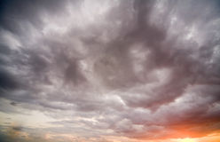Dramatic sky. With clouds on sunset Stock Photos