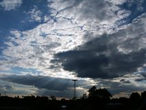 Dramatic sky. Landscape (trees, watch-tower) with dramatic sky Stock Images