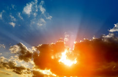 Dramatic sky. Dramatic sunset sky with sun Royalty Free Stock Photography