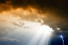 Dramatic sky. Dramatic background - dark sky and clouds, sunbeam from above, lightning Royalty Free Stock Photography