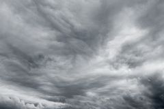 Dramatic sky. Ominous grey storm clouds sky royalty free stock photo