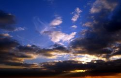 Dramatic sky. At sunset - dark clouds and sun rays Royalty Free Stock Image