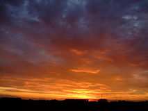 Dramatic sky. Sunset cloudscape (background with sunset sky Royalty Free Stock Images