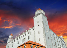 Dramatic Sky above Bratislava Castle stock photo