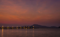 Dramatic sky above the pier, phuket, thailand Stock Photography