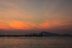 Dramatic sky above the pier, phuket, thailand Stock Photo