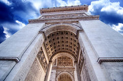 Dramatic Sky above Triumph Arc in Paris Stock Images