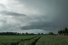 Rotating wallcloud of a supercell thunderstorm, south of the city of Ghent, Belgium. royalty free stock photos