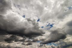 Dramatic Sky Background. Stormy Clouds in Dark Sky. Moody Clouds Stock Photos