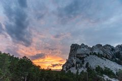 A dramatic Sky Behind Mount Rushmore stock photo
