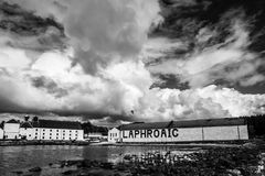 Dramatic Sky and Bird over Laphroaig in Black and White royalty free stock photography