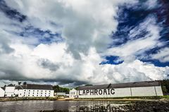 Dramatic Sky and Bird over Laphroaig royalty free stock photography