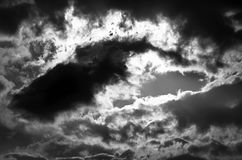 Dramatic sky. Black and white photo royalty free stock photo