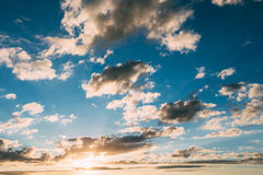 Dramatic Sky, Bright Blue And Yellow Colors Royalty Free Stock Image