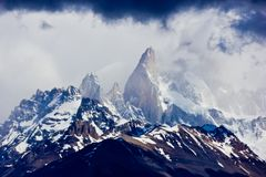 Dramatic sky in Chile on Torres del Paine peaks stock photography