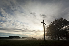 Dramatic sky and a cross Royalty Free Stock Images