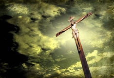 Dramatic sky with crucifix Royalty Free Stock Photos