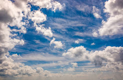 Dramatic sky with dynamic cloud arrangement. Cloudy weather background Stock Photo
