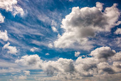 Dramatic sky with dynamic cloud arrangement. Cloudy weather background Royalty Free Stock Photo