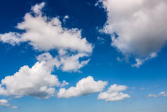 Dramatic sky with dynamic cloud arrangement. Cloudy weather background Royalty Free Stock Photos