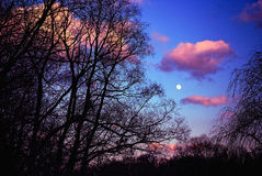 Dramatic Sky with Full Moon Stock Photo
