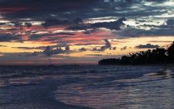 Dramatic sky just before the sunrise. Over Atlantic Ocean coast, Bavaro beach, Hispaniola Island. Dominican Republic Stock Image