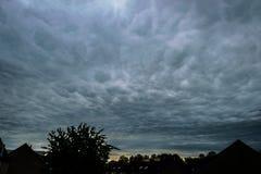Dramatic sky of mammatus clouds stock image