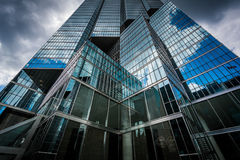 Dramatic sky and modern buildings in the Financial District, in. Toronto, Ontario Royalty Free Stock Photos