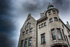 Dramatic sky over Alesund. Norway royalty free stock image