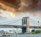 Dramatic sky over Brooklyn Bridge Royalty Free Stock Photography